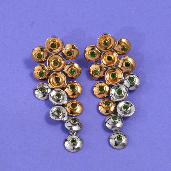 GP - Russian Diopside (Rnd), Blue Sapphire Earrings (with Push Back) in Platinum and Yellow Gold Ove