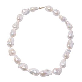 ILIANA White Baroque Pearl Beaded Necklace Size 20 in 18K Gold 1 Grams
