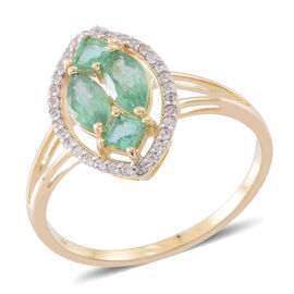 1.75 Kagem Zambian Emerald and Natural White Cambodian Zircon Designer Ring in 9K Gold