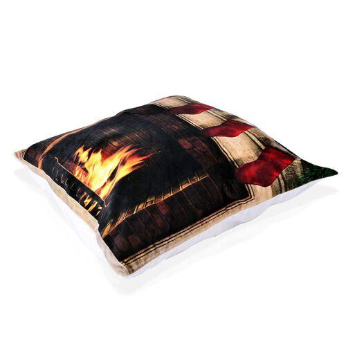 Black, Red and Multi Colour Christmas Socks Theme LED Cushion (Size 40X40 Cm)