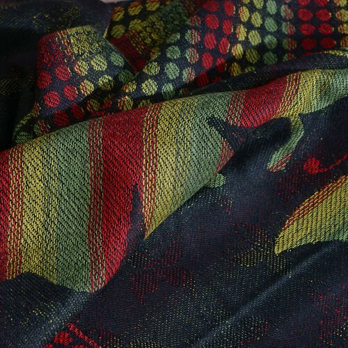 Multi Colour Butterfly Pattern Black, Red and Yellow Colour Jacquard Scarf with Fringes (Size 200x70 Cm)