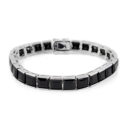 63.25 Ct Boi Ploi Black Spinel Tennis Bracelet in Rhodium Plated Silver 17.80 grams 7.5 Inch