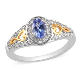 Tanzanite and Natural Cambodian Zircon Ring in Platinum and Yellow Gold Overlay Sterling Silver