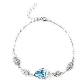 J Francis - Crystal from Swarovski Aquamarine Crystal (Pear), White Swarovski Crystal Leaf Bracelet