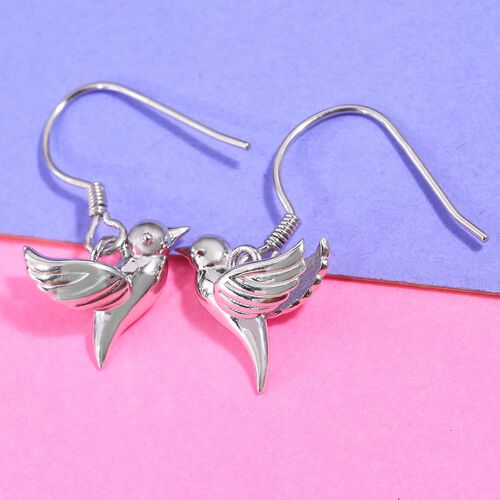 Platinum Overlay Sterling Silver Flying Bird Fish Hook Earrings