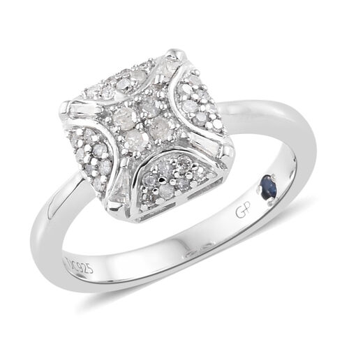 GP Diamond (Rnd), Kanchanaburi Blue Sapphire Ring in Platinum Overlay Sterling Silver 0.270 Ct.