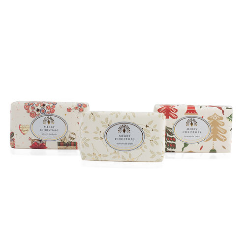 The English Soap Company: Vintage Christmas Wrapped Soap Collection - Merry Christmas, Reindeer and Presents (3 x 200g)