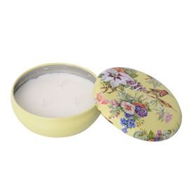 Multi Wick Passion Fruit Fragrance Candle with Floral Printed Yellow Box - 25 Hrs Burn Time