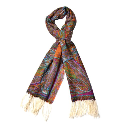 100% Wool Orange, Pink and Multi Colour Paisley Pattern Scarf with Tassels (Size 184X68 Cm)