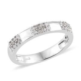 Diamond (Rnd) Band Ring in Platinum Overlay Sterling Silver 0.150 Ct