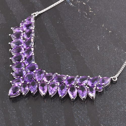 Amethyst (Pear) Necklace (Size 18) in Platinum Overlay Sterling Silver 36.500 Ct.