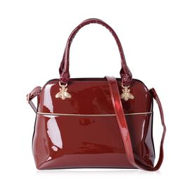 HONG KONG CLOSE OUT DEAL High Glossed  Crystal Bee Design Burgundy Colour Tote Bag (Size 32x25x12 Cm