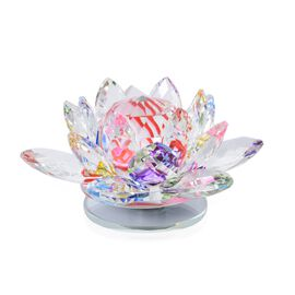 Rotating Faceted Crystal Lotus (Size 14x6.5 Cm) - Multi Colour