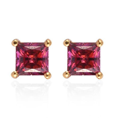 J Francis 14K Gold Overlay Sterling Silver Stud Earrings (with Push Back) Made with Red SWAROVSKI ZI