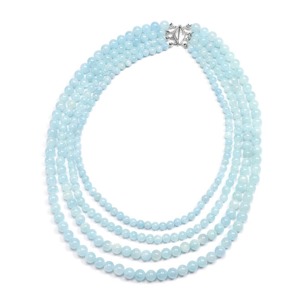 Santa Teresa Aquamarine Four-Row Necklace (Size 16 with Magnetic Lock) in Rhodium Overlay Sterling S