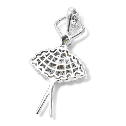 Designer Inspired-Ethiopian Welo Opal (Rnd), Russian Diopside Ballerina Pendant in Platinum Overlay Sterling Silver 2.250 Ct,