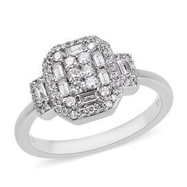 RHAPSODY 950 Platinum IGI Certified Diamond (Bgt and Rnd) (VS/E-F) Ring 0.50 Ct.