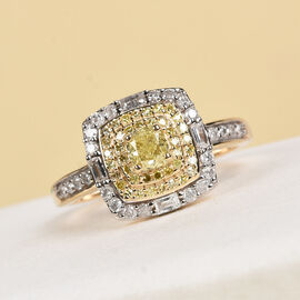 9K Yellow Gold Natural Yellow Diamond and White Diamond Ring 0.75 Ct.