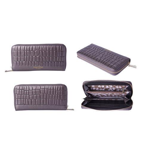 Sencillez 100% Genuine Leather RFID Protected Croc Embossed Wallet (Size 19x2x10cm) - Metallic Bronze