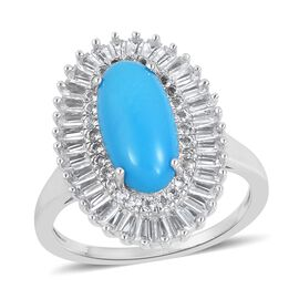 4.15 Ct Sleeping Beauty Turquoise and White Topaz Double Halo Ring in Rhodium Plated Silver