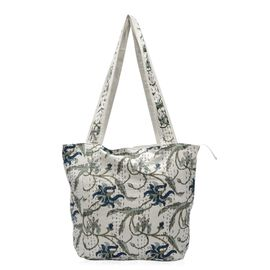 100% Cotton Kantha Embroidered Leaf Pattern Hand Bag with Zip Closure (Size 33x16x36 Cm) - Multicolo
