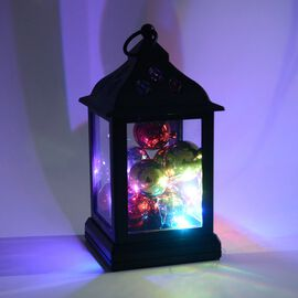 Home Decor - Lantern Filled with 9 Christmas Balls and LED (Size 11x25 Cm) - Black (3xAA Battery not