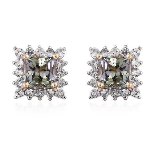 9K Yellow Gold Green Tanzanite (Sqr), Natural Cambodian Zircon Stud Earrings (with Push Back) 2.150 Ct.