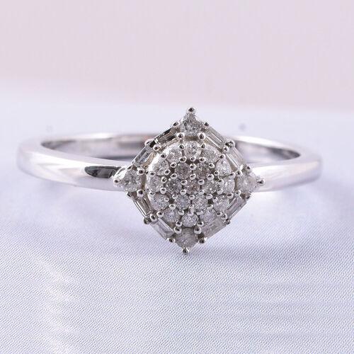 9K White Gold SGL Certified Diamond (Rnd and Bgt) (I3/G-H) Cluster Ring 0.20 Ct.
