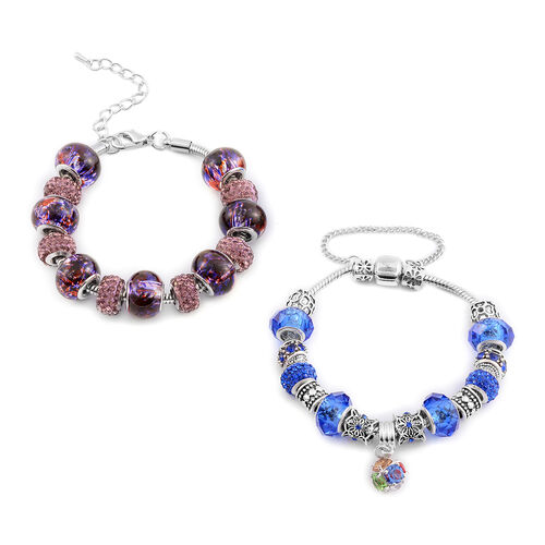 Blue and Purple Austrian Crystal and Glass Charm Bracelet with Extender