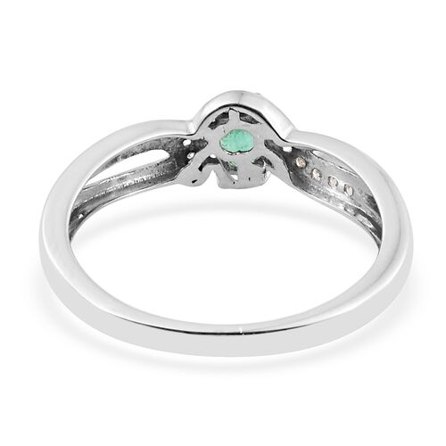Show Stopper -Premium Santa Terezinha Emerald (Ovl), Natural Cambodian Zircon Ring in Platinum Overlay Sterling Silver 0.500 Ct.