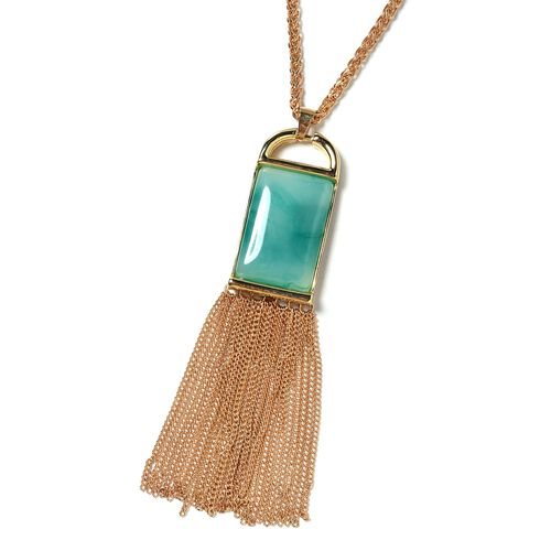 Designer Inspired- Simulated Amazonite (Rectangle) Pendant With Chain (Size 30 with 2 inch Extender) with Tassels in Yellow Plated