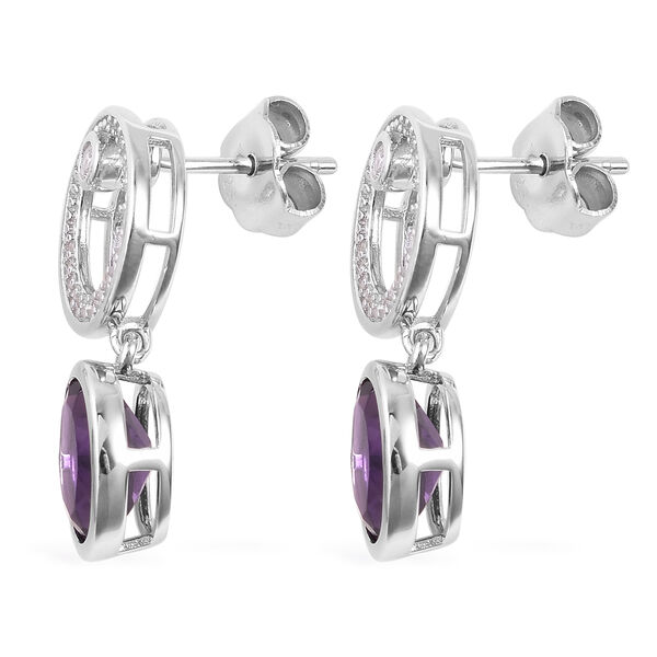 Isabella Liu - Twilight Collection - Lusaka Amethyst (Ovl), Natural White Cambodian Zircon Earrings (with Push Back) in Rhodium Overlay Sterling Silver 4.520 Ct