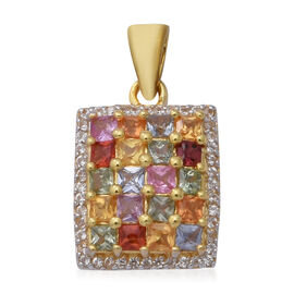 2.92 Ct AA Rainbow Sapphire and Cambodian Zircon Cluster Pendant in Gold Plated Sterling Silver