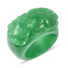 36 Ct Carved Green Jade Handmade Ring