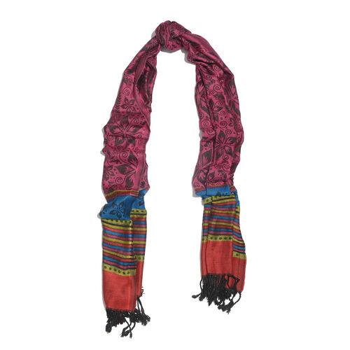 Close Out Deal- Pink Red and Multi Colour Flower and Stripe Pattern Jacquard Scarf (Size 180x70 Cm)