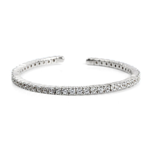Natural Cambodian Zircon Bangle (Size 6.5) in Platinum Overlay Sterling Silver 2.200 Ct. Silver wt 15.50 Gms.