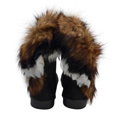 Women Faux Fur Lined Winter Warm Snow Ankle Boots (Size 4) - Black