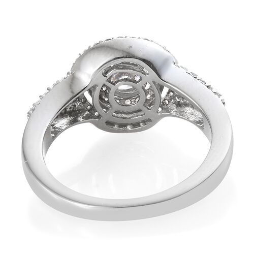 J Francis - Yellow Gold and Platinum Overlay Sterling Silver (Rnd) Ring Made with SWAROVSKI ZIRCONIA