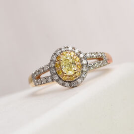 9K Yellow Gold Natural Yellow Diamond and Diamond Ring 0.50 Ct.
