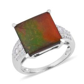 AA Canadian Ammolite (Sqr 4.25 Ct), Natural White Cambodian Zircon Ring (Size S) in Rhodium Plated Sterling S