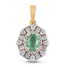 Emerald and Natural Cambodian Zircon Pendant in 14K Gold Overlay Sterling Silver