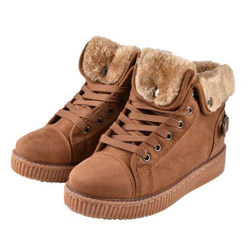Camel Colour Faux Fur Lined Lace-Up Ankle Boots (Size 7)