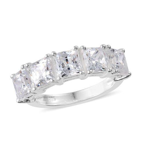 J Francis - Sterling Silver Princess Cut (Sqr) 5 Stone Ring Made with SWAROVSKI ZIRCONIA