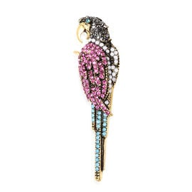 Multi Colour Austrian and Simulated Blue Jade Crystal Parrot Brooch in Gold Tone