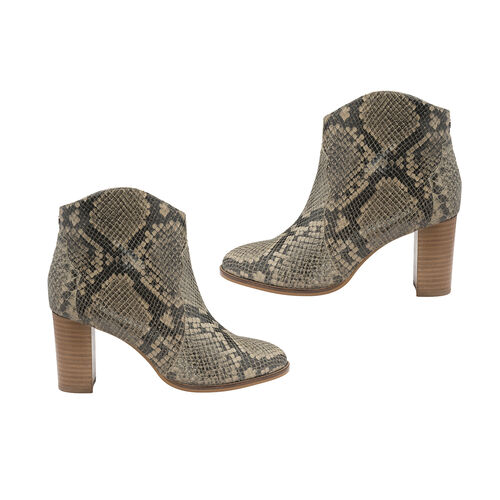 Ravel Snake Print Foxton Leather Heeled Ankle Boots