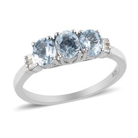 Santa Teresa Aquamarine and White Diamond Ring in Platinum Overlay Sterling Silver