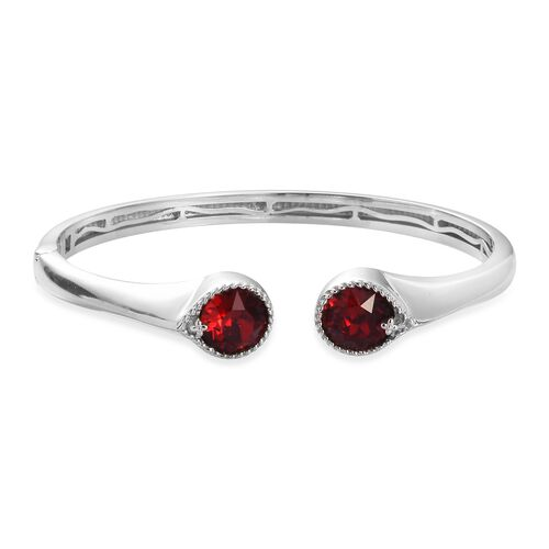 J Francis - Crystal from Swarovski Siam Colour Crystal Cuff Bangle (Size 7.5) in Silver Tone