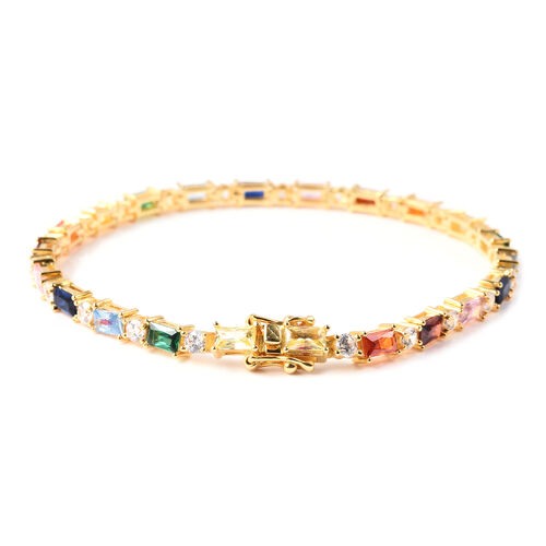 ELANZA Simulated Rainbow Sapphire and Simulated Diamond Bracelet (Size 8) in Yellow Gold Overlay Sterling Silver  Silver wt 9.25 Gms