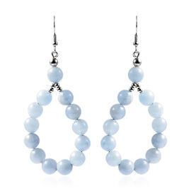 Aquamarine Beads Earrings in Silver Tone 135.00 Ct.