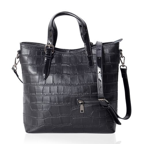 Classic Black100% Genuine Leather Croc Embossed Tote Bag with High Glossed Shoulder Strap (Size 28x27x10 Cm)